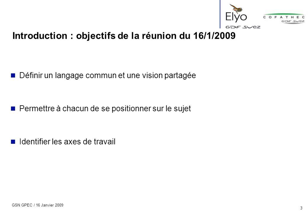 GSN GPEC / 16 Janvier 2009 3 Introduction : objectifs de la réunion du 16/1/2009 n Définir un langage commun et une vision partagée n Permettre à chac