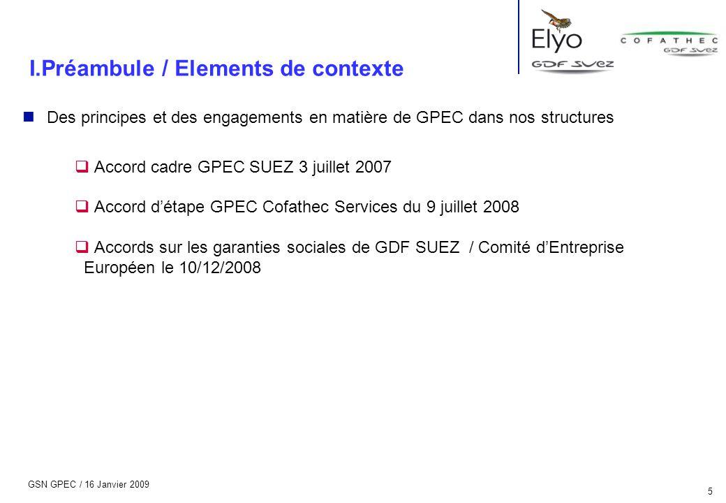 GSN GPEC / 16 Janvier 2009 5 n Des principes et des engagements en matière de GPEC dans nos structures  Accord cadre GPEC SUEZ 3 juillet 2007  Accor