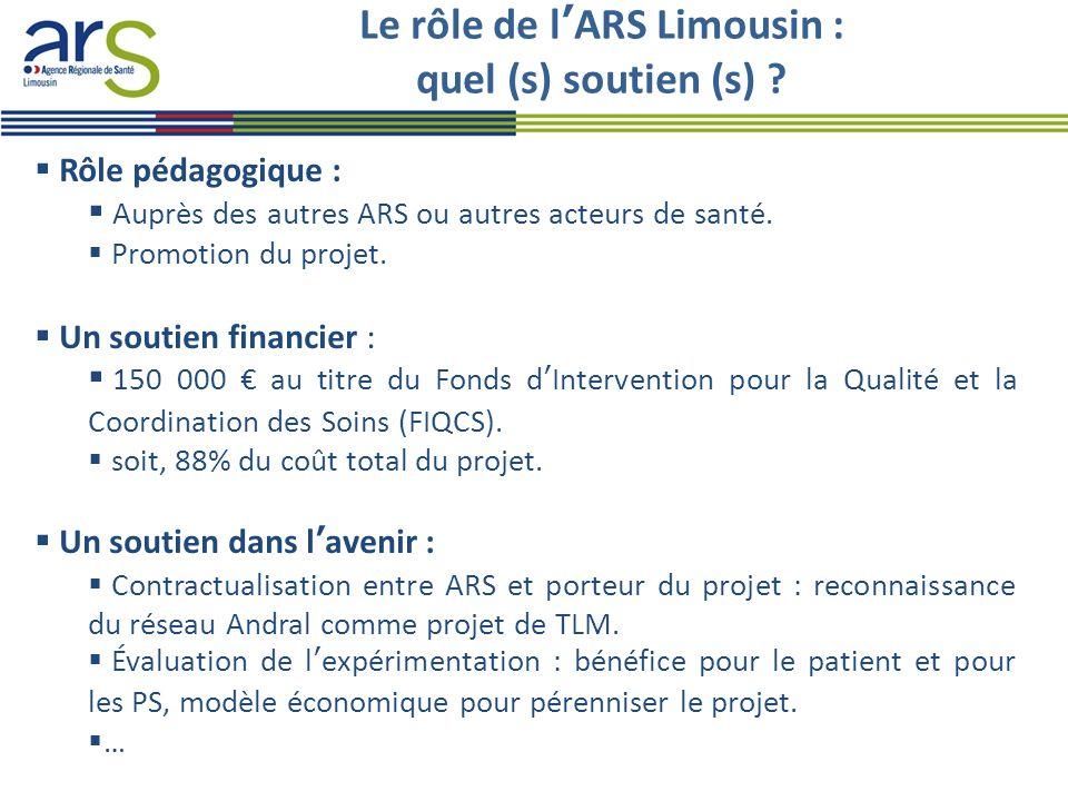 Le rôle de l'ARS Limousin : quel (s) soutien (s) ?  Rôle pédagogique :  Auprès des autres ARS ou autres acteurs de santé.  Promotion du projet.  U