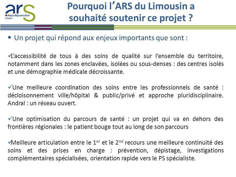 Pourquoi l'ARS du Limousin a souhaité soutenir ce projet ?  Un projet qui répond aux enjeux importants que sont : L'accessibilité de tous à des soins