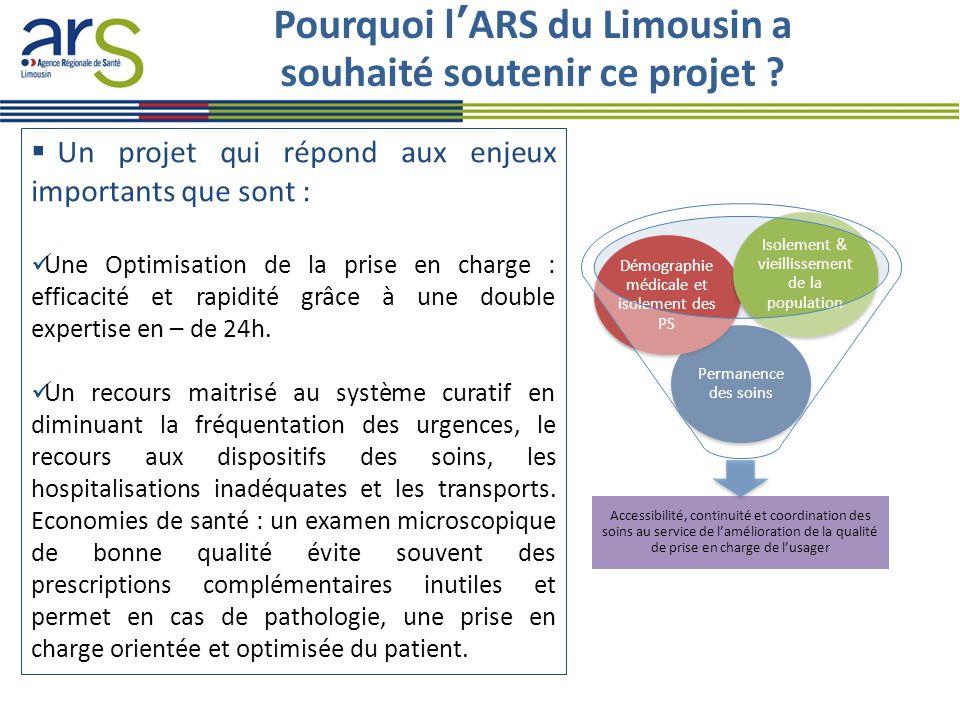 Pourquoi l'ARS du Limousin a souhaité soutenir ce projet ?  Un projet qui répond aux enjeux importants que sont : Une Optimisation de la prise en cha