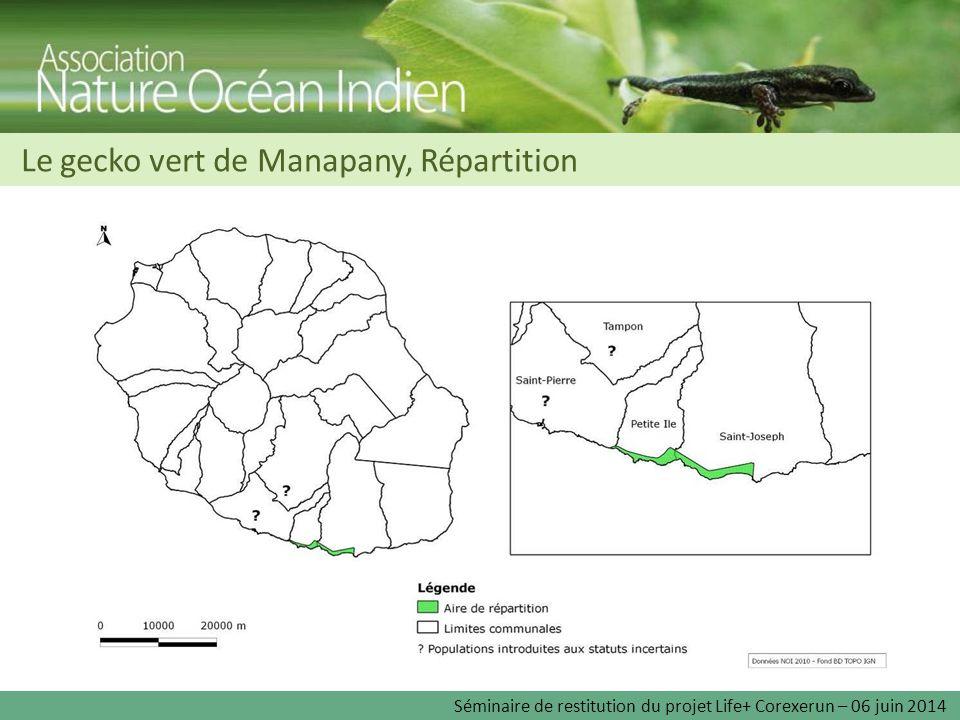 Le gecko vert de Manapany, Répartition Séminaire de restitution du projet Life+ Corexerun – 06 juin 2014