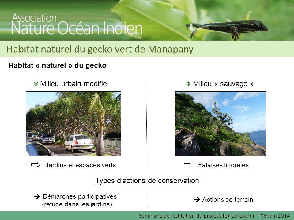 Habitat naturel du gecko vert de Manapany Habitat « naturel » du gecko Milieu « sauvage » Milieu urbain modifié Falaises littoralesJardins et espaces