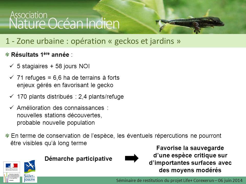 Résultats 1 ère année : 5 stagiaires + 58 jours NOI 71 refuges = 6,6 ha de terrains à forts enjeux gérés en favorisant le gecko 170 plants distribués