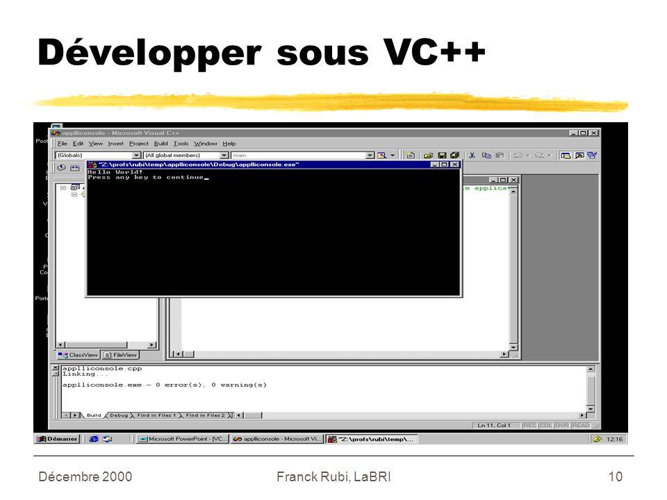 Décembre 2000Franck Rubi, LaBRI10 Développer sous VC++