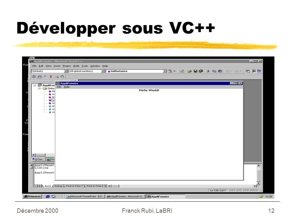 Décembre 2000Franck Rubi, LaBRI12 Développer sous VC++