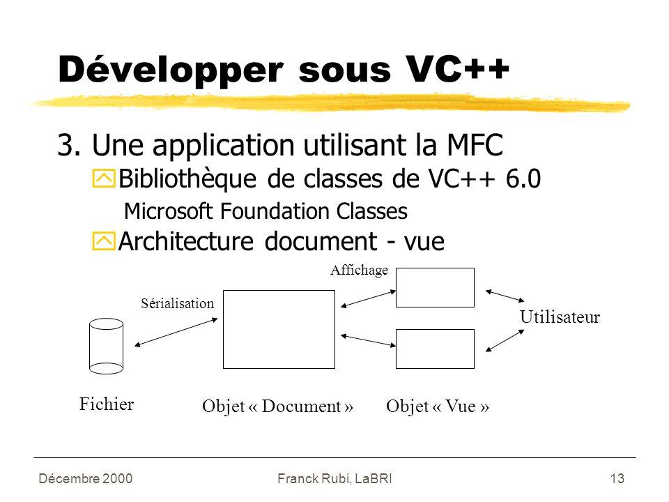 Décembre 2000Franck Rubi, LaBRI13 Développer sous VC++ 3.