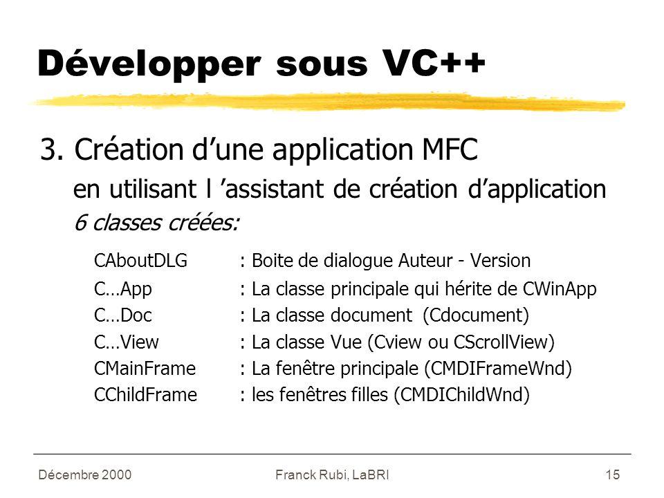 Décembre 2000Franck Rubi, LaBRI15 Développer sous VC++ 3.