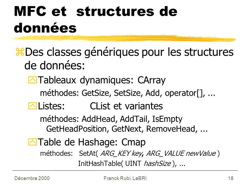Décembre 2000Franck Rubi, LaBRI18 MFC et structures de données zDes classes génériques pour les structures de données: yTableaux dynamiques: CArray méthodes: GetSize, SetSize, Add, operator[],...