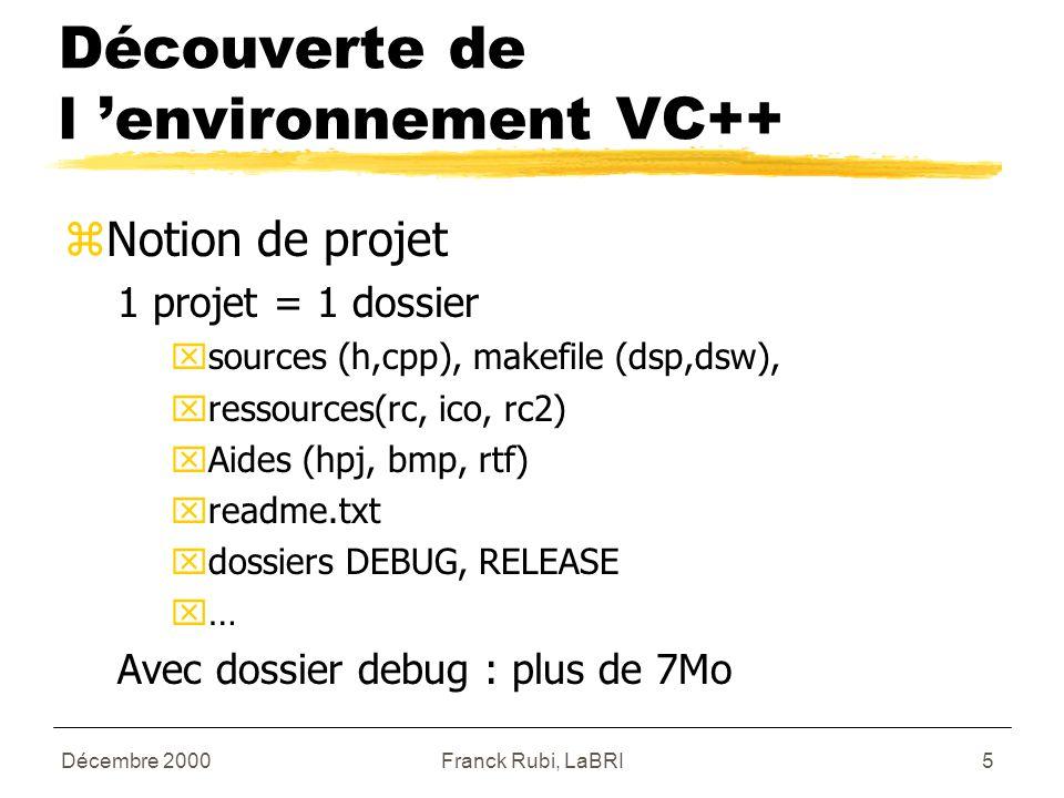 Décembre 2000Franck Rubi, LaBRI5 Découverte de l 'environnement VC++ zNotion de projet 1 projet = 1 dossier xsources (h,cpp), makefile (dsp,dsw), xressources(rc, ico, rc2) xAides (hpj, bmp, rtf) xreadme.txt xdossiers DEBUG, RELEASE x… Avec dossier debug : plus de 7Mo