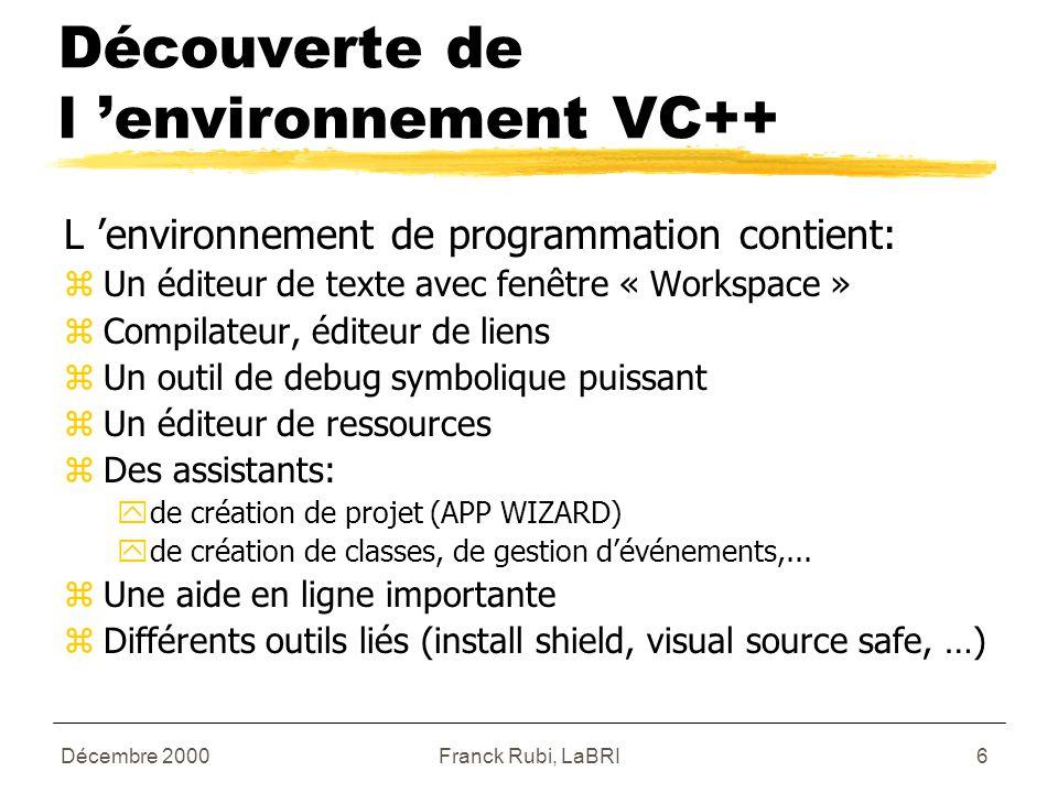 Décembre 2000Franck Rubi, LaBRI6 Découverte de l 'environnement VC++ L 'environnement de programmation contient: zUn éditeur de texte avec fenêtre « Workspace » zCompilateur, éditeur de liens zUn outil de debug symbolique puissant zUn éditeur de ressources zDes assistants: yde création de projet (APP WIZARD) yde création de classes, de gestion d'événements,...