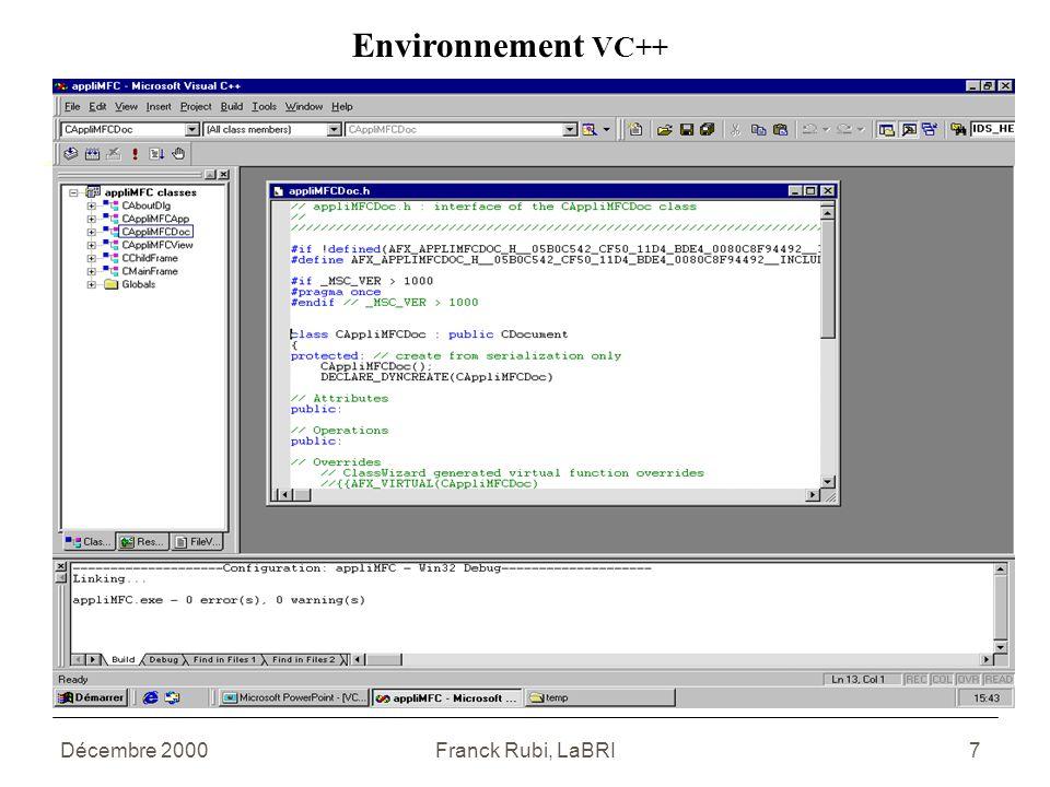 Décembre 2000Franck Rubi, LaBRI7 Environnement VC++