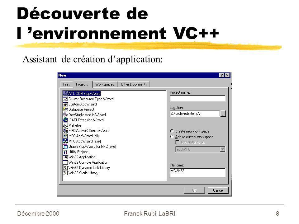 Décembre 2000Franck Rubi, LaBRI8 Assistant de création d'application: Découverte de l 'environnement VC++