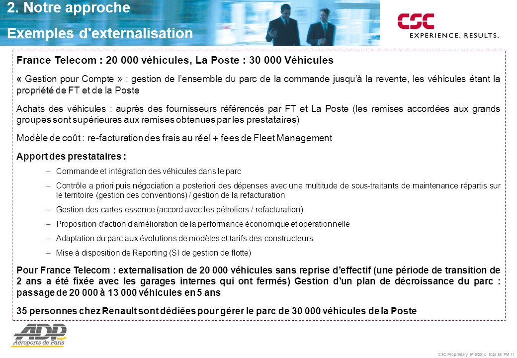 CSC Proprietary 9/15/2014 5:46:24 PM 11 2. Notre approche Exemples d'externalisation France Telecom : 20 000 véhicules, La Poste : 30 000 Véhicules «