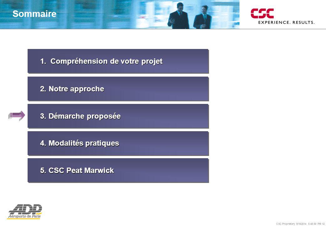 CSC Proprietary 9/15/2014 5:46:24 PM 12 1. Compréhension de votre projet 2. Notre approche 3. Démarche proposée 4. Modalités pratiques Sommaire 5. CSC