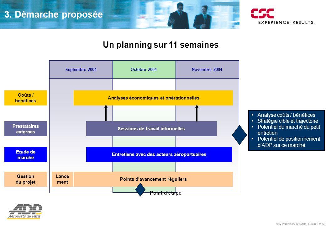 CSC Proprietary 9/15/2014 5:46:24 PM 13 Analyse coûts / bénéfices Stratégie cible et trajectoire Potentiel du marché du petit entretien Potentiel de p