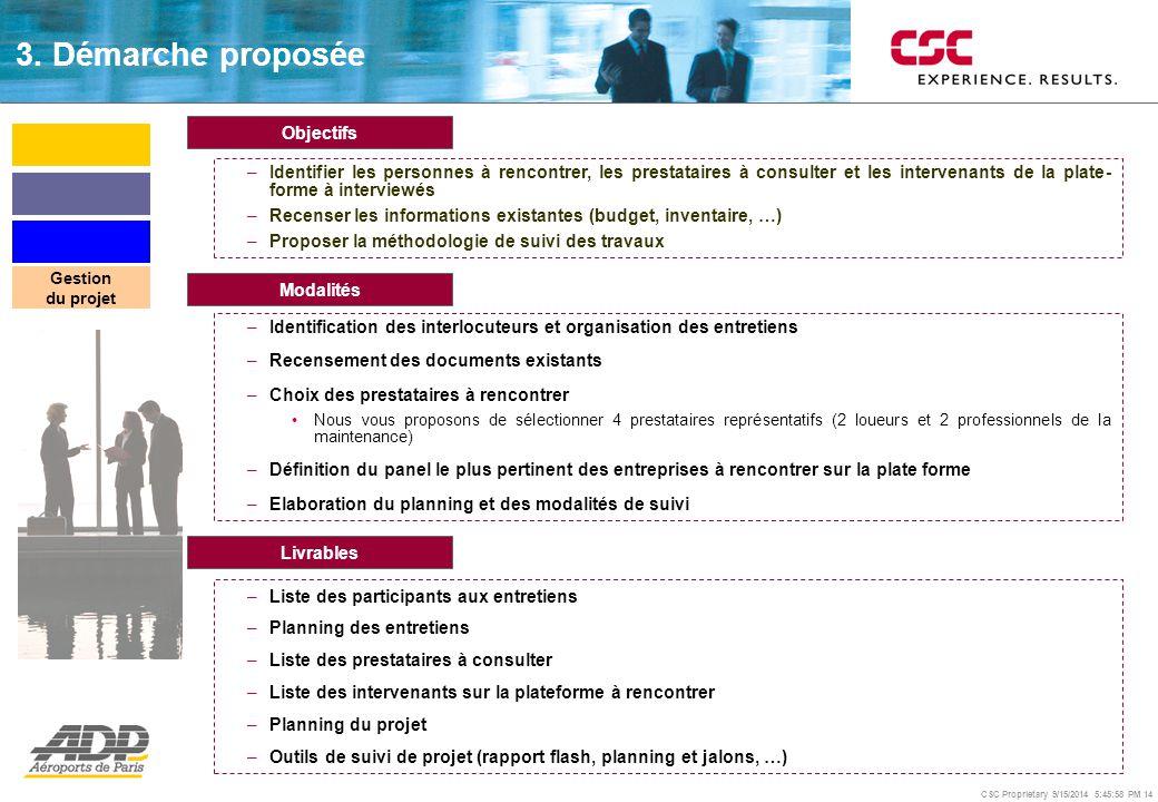 CSC Proprietary 9/15/2014 5:46:24 PM 14 Objectifs –Identifier les personnes à rencontrer, les prestataires à consulter et les intervenants de la plate