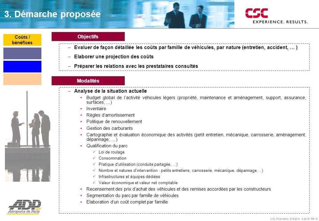 CSC Proprietary 9/15/2014 5:46:24 PM 15 Objectifs –Evaluer de façon détaillée les coûts par famille de véhicules, par nature (entretien, accident, … )