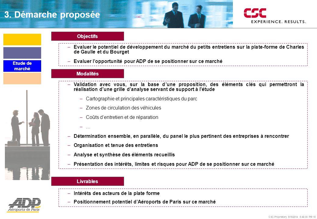 CSC Proprietary 9/15/2014 5:46:24 PM 18 Modalités –Validation avec vous, sur la base d'une proposition, des éléments clés qui permettront la réalisati