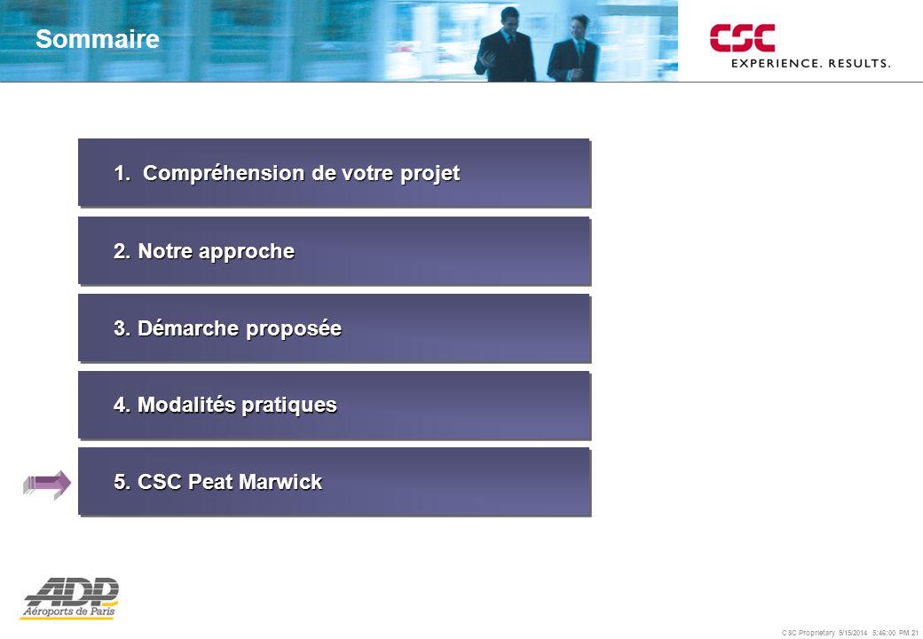 CSC Proprietary 9/15/2014 5:46:24 PM 21 1. Compréhension de votre projet 2. Notre approche 3. Démarche proposée 4. Modalités pratiques Sommaire 5. CSC
