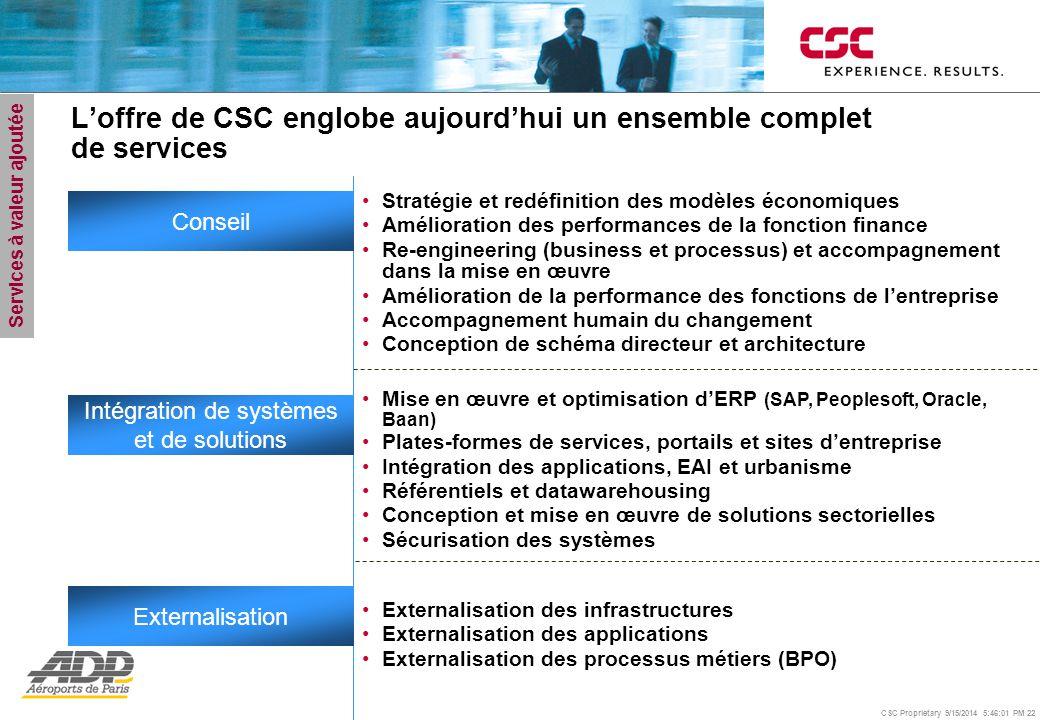 CSC Proprietary 9/15/2014 5:46:24 PM 22 L'offre de CSC englobe aujourd'hui un ensemble complet de services Mise en œuvre et optimisation d'ERP (SAP, P