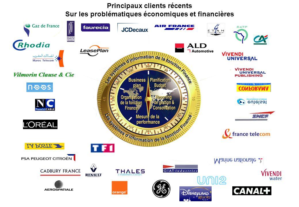 Principaux clients récents Sur les problématiques économiques et financières