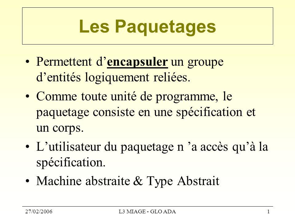 27/02/2006L3 MIAGE - GLO ADA1 Les Paquetages Permettent d'encapsuler un groupe d'entités logiquement reliées. Comme toute unité de programme, le paque