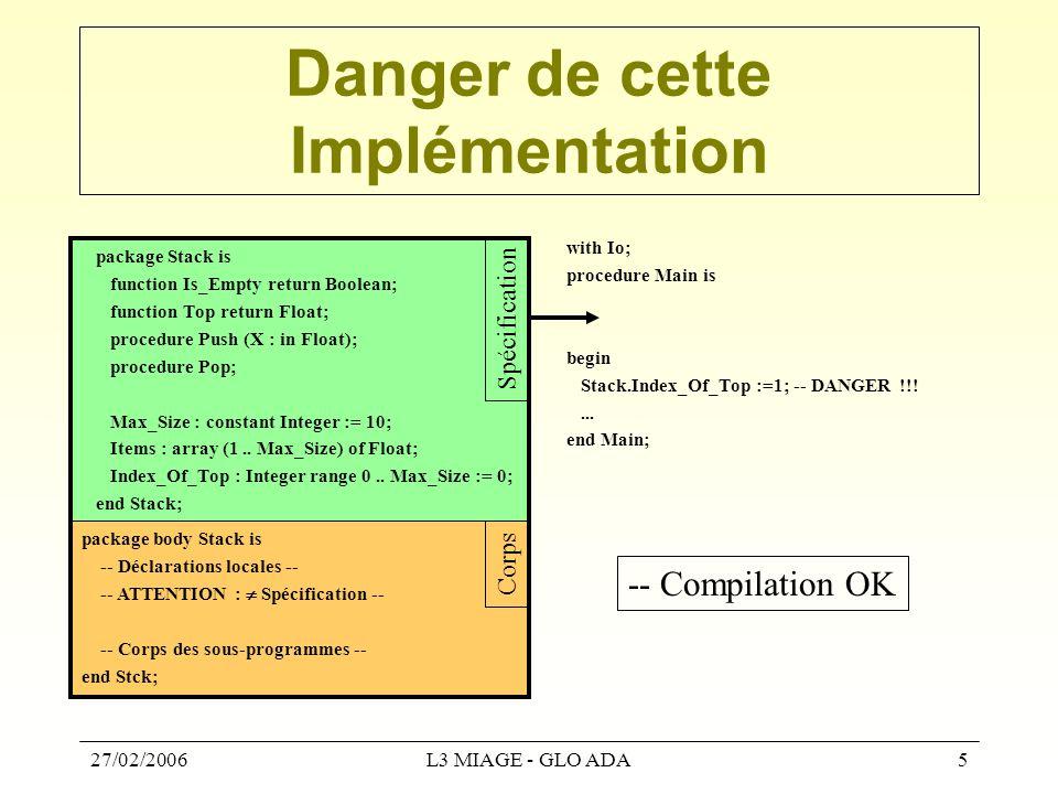 27/02/2006L3 MIAGE - GLO ADA16 Généricité : à retenir...