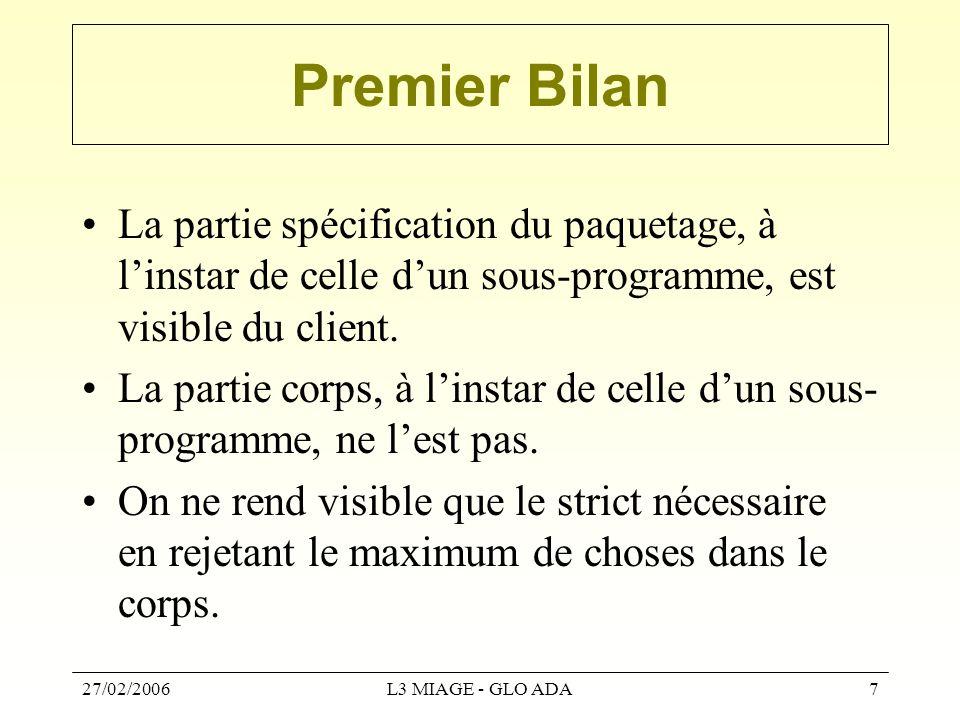 27/02/2006L3 MIAGE - GLO ADA7 Premier Bilan La partie spécification du paquetage, à l'instar de celle d'un sous-programme, est visible du client. La p
