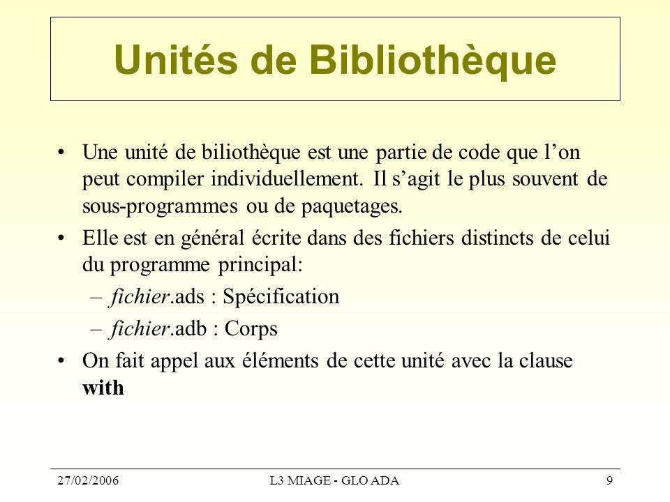 27/02/2006L3 MIAGE - GLO ADA9 Unités de Bibliothèque Une unité de biliothèque est une partie de code que l'on peut compiler individuellement. Il s'agi