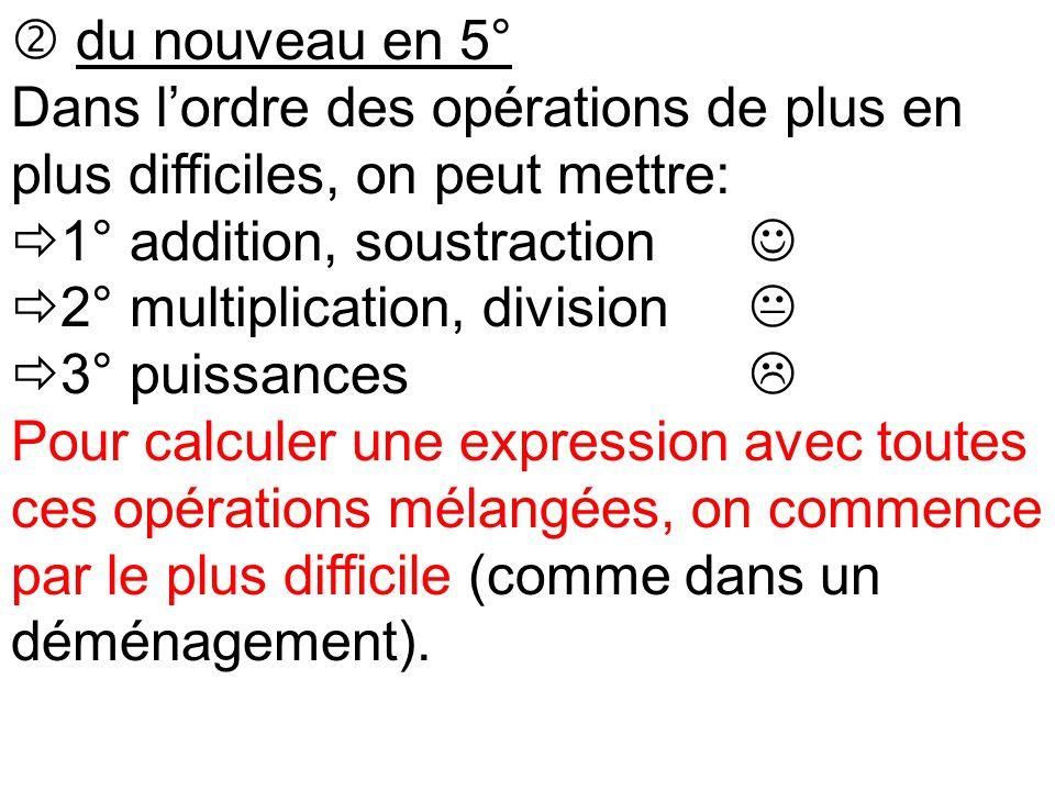  du nouveau en 5° Dans l'ordre des opérations de plus en plus difficiles, on peut mettre:  1° addition, soustraction  2° multiplication, division 