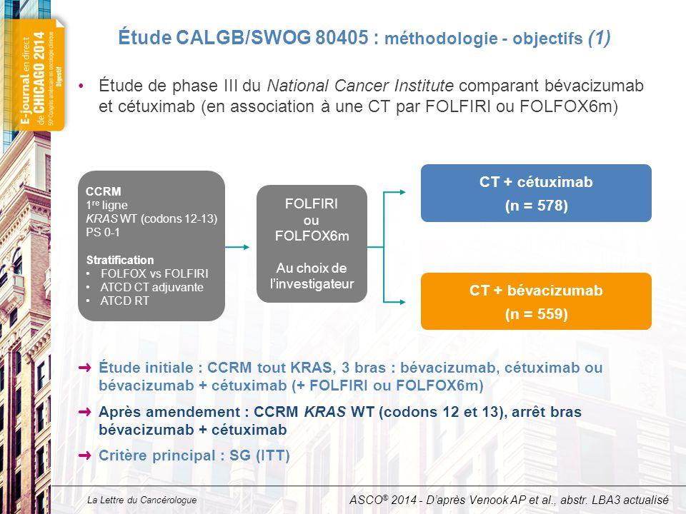 La Lettre du Cancérologue Étude CALGB/SWOG 80405 : méthodologie - objectifs (1) Étude de phase III du National Cancer Institute comparant bévacizumab et cétuximab (en association à une CT par FOLFIRI ou FOLFOX6m) ➜ Étude initiale : CCRM tout KRAS, 3 bras : bévacizumab, cétuximab ou bévacizumab + cétuximab (+ FOLFIRI ou FOLFOX6m) ➜ Après amendement : CCRM KRAS WT (codons 12 et 13), arrêt bras bévacizumab + cétuximab ➜ Critère principal : SG (ITT) ASCO ® 2014 - D'après Venook AP et al., abstr.