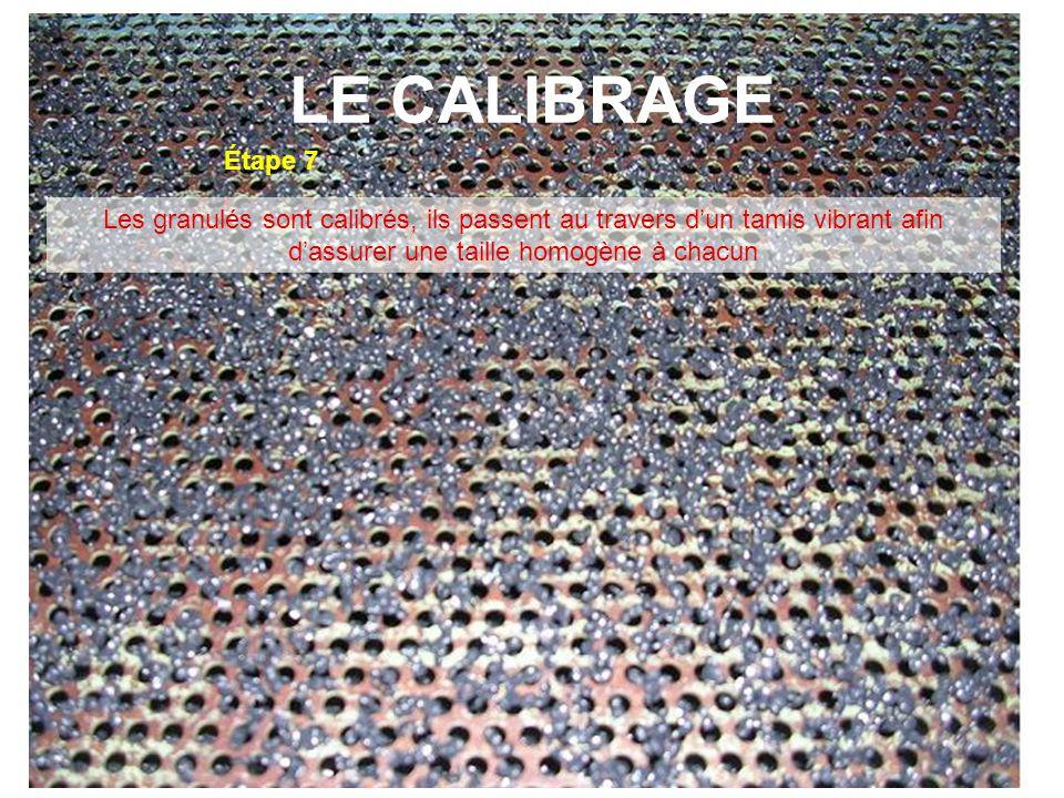 LE CALIBRAGE Étape 7 Les granulés sont calibrés, ils passent au travers d'un tamis vibrant afin d'assurer une taille homogène à chacun