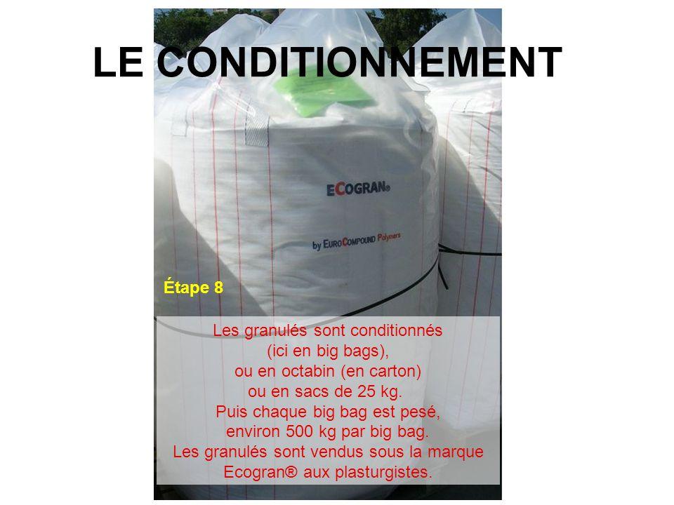 LE CONDITIONNEMENT Étape 8 Les granulés sont conditionnés (ici en big bags), ou en octabin (en carton) ou en sacs de 25 kg. Puis chaque big bag est pe