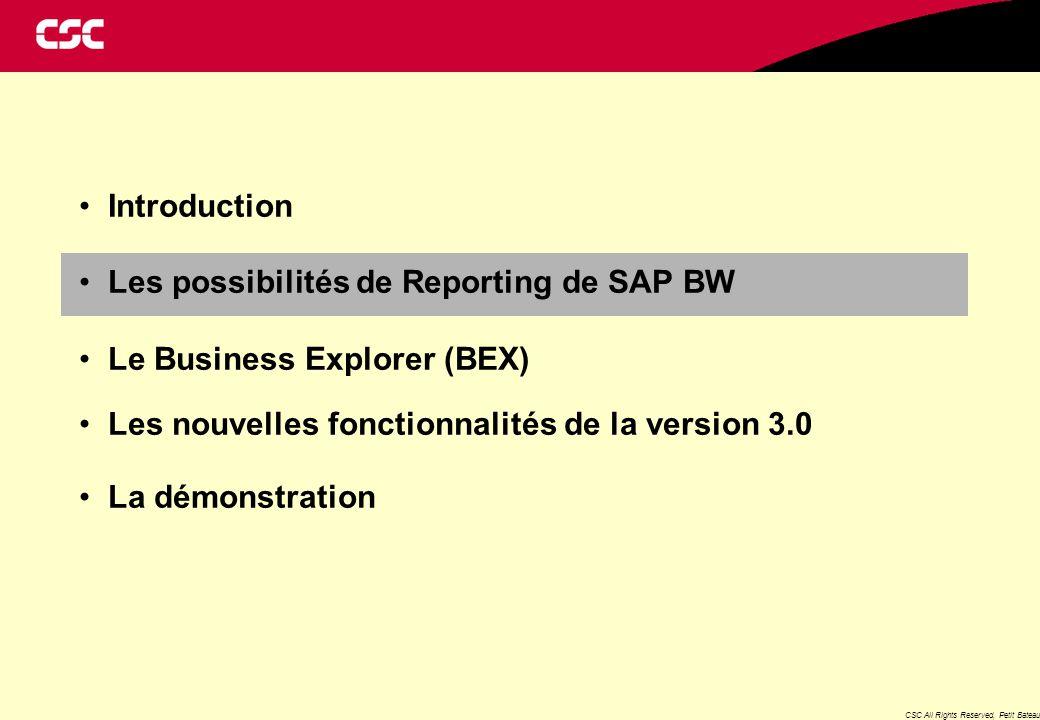 CSC All Rights Reserved, Petit Bateau Les Possibilités de Reporting de SAP BW Reporting Commandes d'Achats Division Boutiques Reporting Ventes des Boutiques Le Reporting peut s'effectuer de différentes manières : un tableur Excel démarré à partir du BEX un tableur Excel envoyé par email (ce tableur pourra être rafraîchi si le poste informatique de l'utilisateur est équipé du SAPGui et des add-ons BW) un Reporting formaté (à partir de la version BW 3.0) un Reporting Web (à partir de la version BW 3.0) Reporting Mouvements de stocks