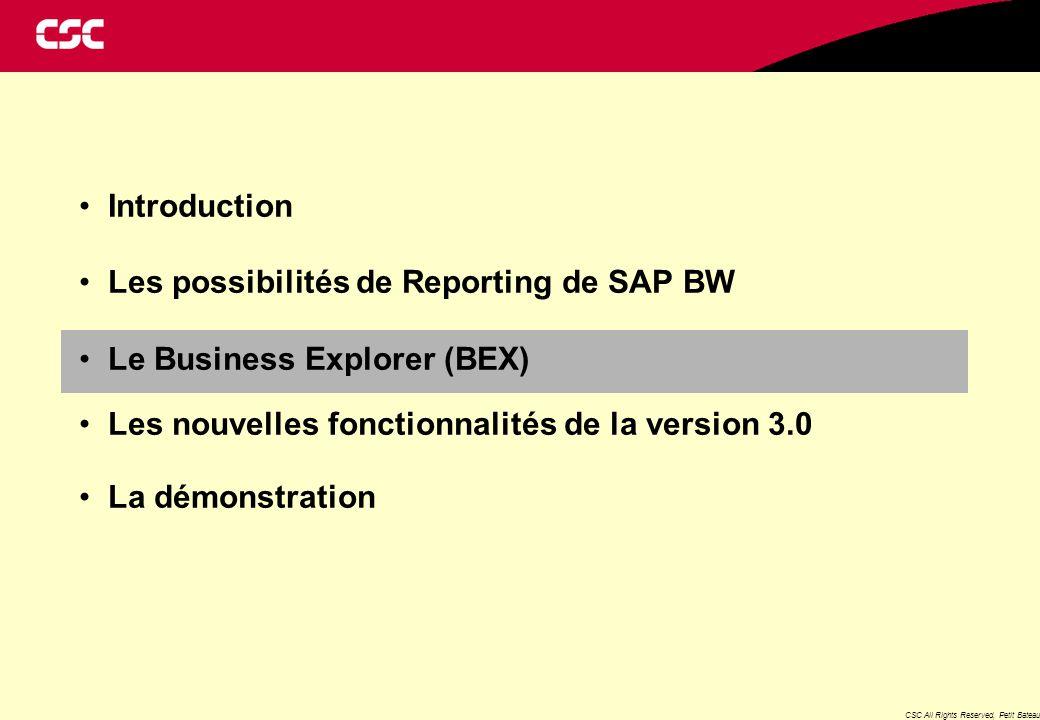 CSC All Rights Reserved, Petit Bateau Introduction Les possibilités de Reporting de SAP BW Le Business Explorer (BEX) Les nouvelles fonctionnalités de la version 3.0 La démonstration