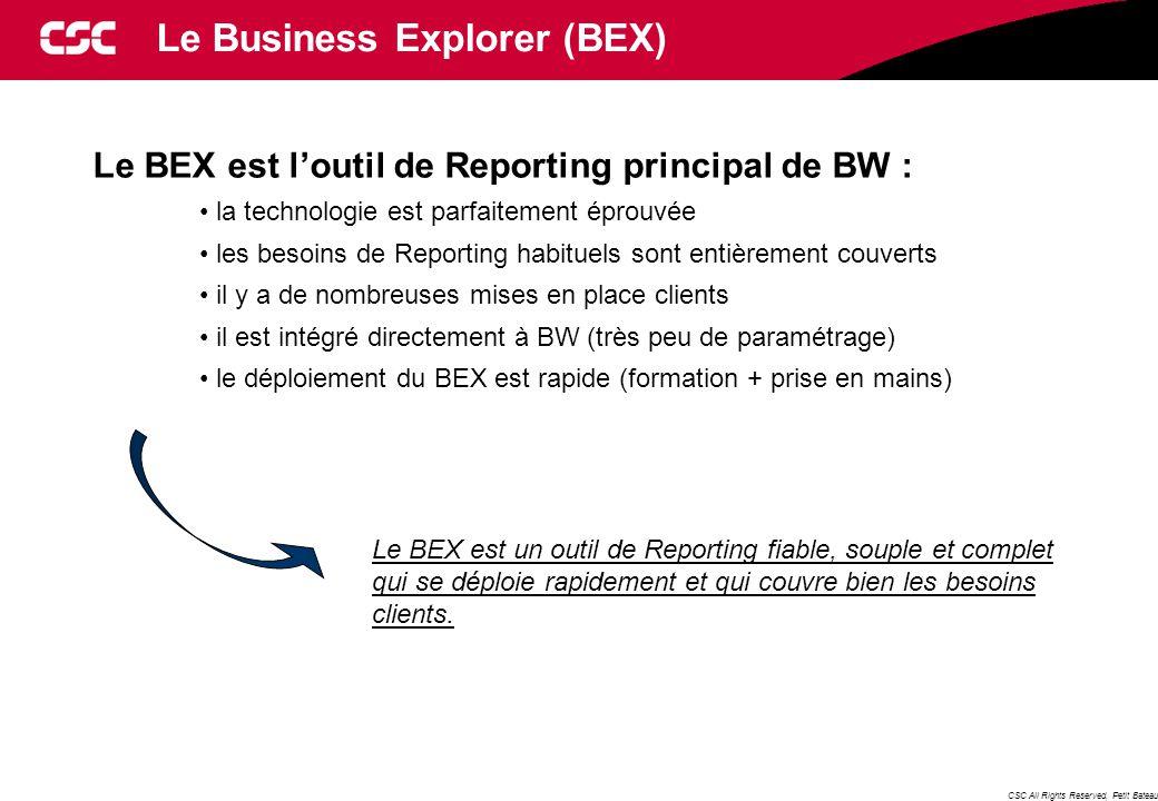 CSC All Rights Reserved, Petit Bateau Le Business Explorer (BEX) Le BEX est l'outil de Reporting principal de BW : la technologie est parfaitement éprouvée les besoins de Reporting habituels sont entièrement couverts il y a de nombreuses mises en place clients il est intégré directement à BW (très peu de paramétrage) le déploiement du BEX est rapide (formation + prise en mains) Le BEX est un outil de Reporting fiable, souple et complet qui se déploie rapidement et qui couvre bien les besoins clients.