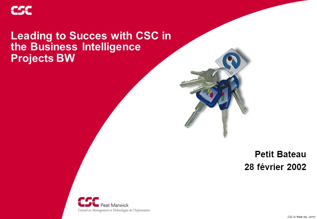 CSC All Reserved, Usinor Leading to Succes with CSC in the Business Intelligence Projects BW Petit Bateau 28 février 2002