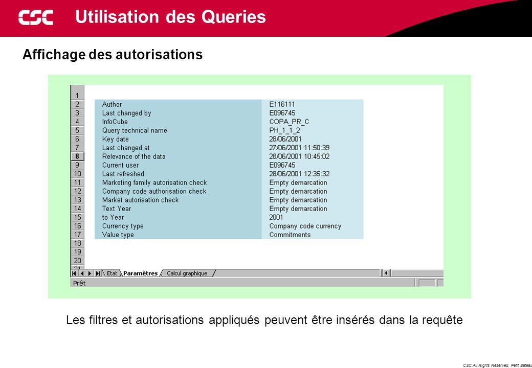 CSC All Rights Reserved, Petit Bateau Affichage des autorisations Les filtres et autorisations appliqués peuvent être insérés dans la requête Utilisation des Queries