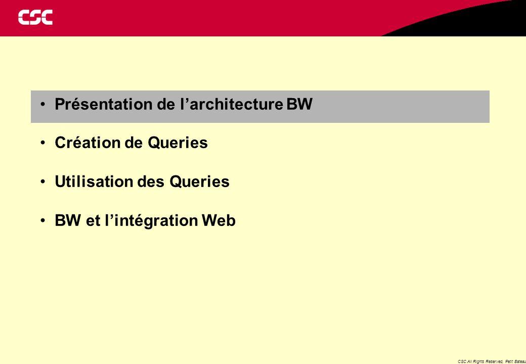 CSC All Rights Reserved, Petit Bateau Présentation de l'architecture BW Création de Queries Utilisation des Queries BW et l'intégration Web
