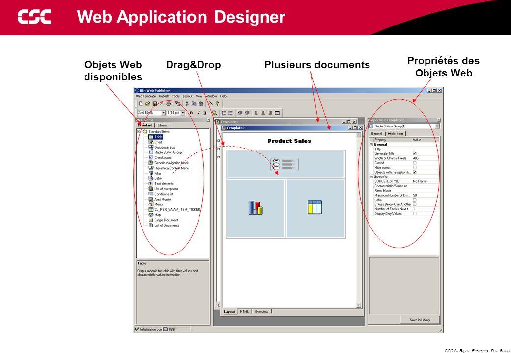 CSC All Rights Reserved, Petit Bateau Objets Web disponibles Plusieurs documents Propriétés des Objets Web Drag&Drop Web Application Designer