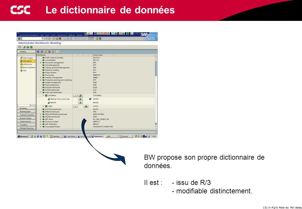 CSC All Rights Reserved, Petit Bateau Le dictionnaire de données BW propose son propre dictionnaire de données.