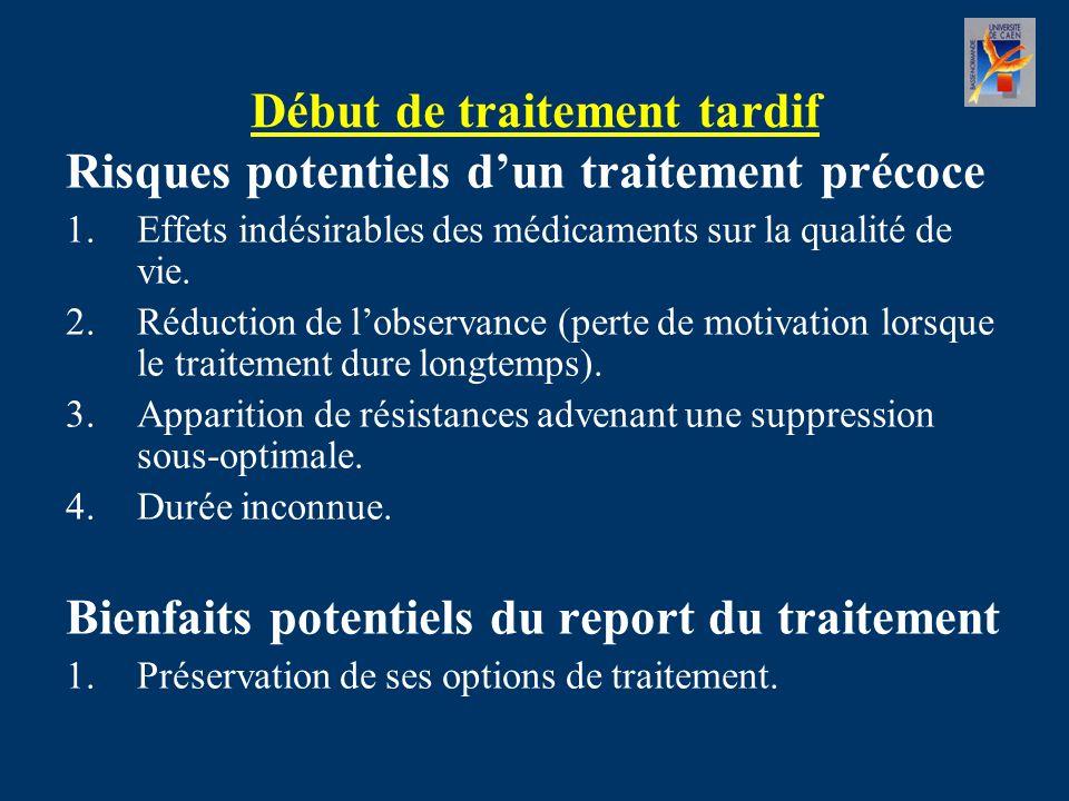 Début de traitement tardif Risques potentiels d'un traitement précoce 1.Effets indésirables des médicaments sur la qualité de vie.