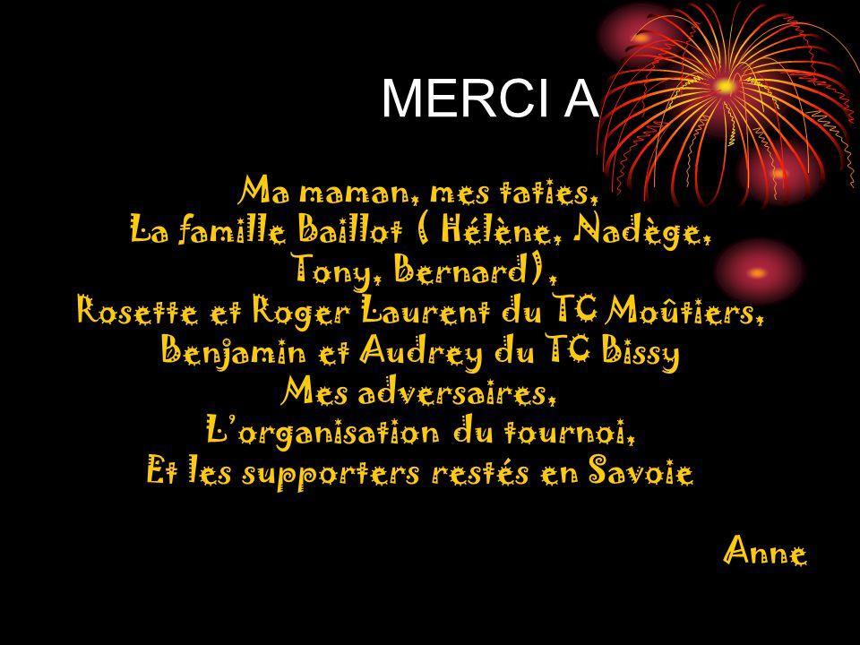 MERCI A Ma maman, mes taties, La famille Baillot ( Hélène, Nadège, Tony, Bernard), Rosette et Roger Laurent du TC Moûtiers, Benjamin et Audrey du TC B