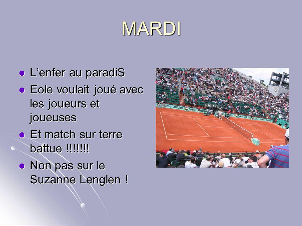 MARDI L'enfer au paradiS Eole voulait joué avec les joueurs et joueuses Et match sur terre battue !!!!!!! Non pas sur le Suzanne Lenglen !