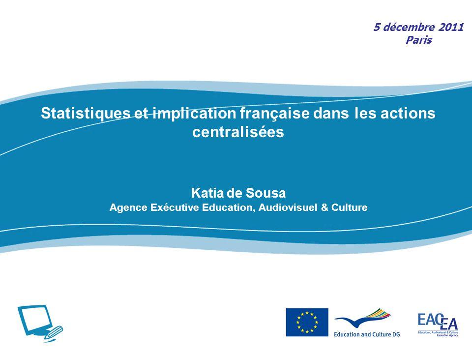Statistiques et implication française dans les actions centralisées Katia de Sousa Agence Exécutive Education, Audiovisuel & Culture 5 décembre 2011 Paris