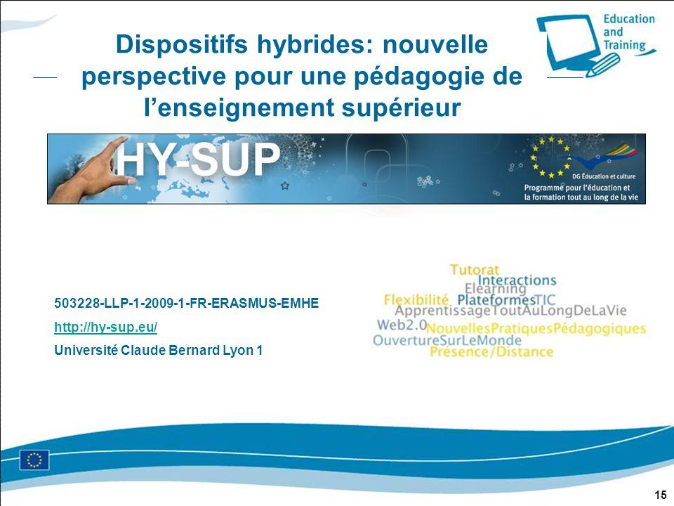 Dispositifs hybrides: nouvelle perspective pour une pédagogie de l'enseignement supérieur 15 503228-LLP-1-2009-1-FR-ERASMUS-EMHE http://hy-sup.eu/ http://hy-sup.eu/ Université Claude Bernard Lyon 1