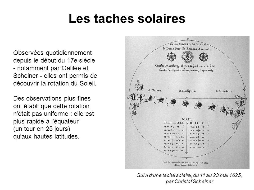 Les taches solaires Observées quotidiennement depuis le début du 17e siècle - notamment par Galilée et Scheiner - elles ont permis de découvrir la rotation du Soleil.