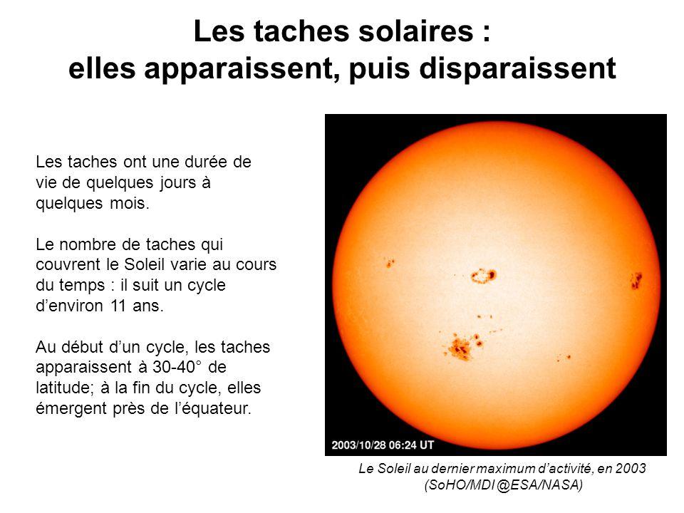 Les taches solaires : elles apparaissent, puis disparaissent Les taches ont une durée de vie de quelques jours à quelques mois.