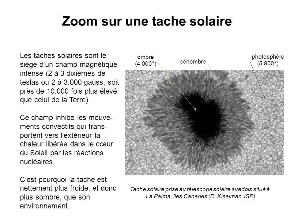 Zoom sur une tache solaire Les taches solaires sont le siège d'un champ magnétique intense (2 à 3 dixièmes de teslas ou 2 à 3.000 gauss, soit près de 10.000 fois plus élevé que celui de la Terre).